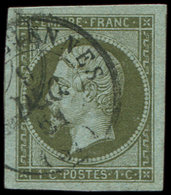 EMPIRE NON DENTELE - 11    1c. Olive, Obl. Càd 9/12/51, Grandes Marges, TTB - 1853-1860 Napoléon III