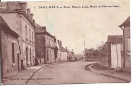 D37 - DAME MARIE - POSTE-MAIRIE-ECOLE-ROUTE DE CHÂTEAURENAULT- 3 Personnes Sur La Carte - Carte Sépia - France