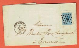 Lettre Bruxelles 20-SEPT-1867 Sur 18 Vers Tamse-Tamise - Obl Point 60-Bruxelles - 1865-1866 Perfil Izquierdo