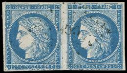 Colonies Générales - 23   25c. Bleu, T I, PAIRE, GRANDE CASSURE, Obl., TB - France (ex-colonies & Protectorats)