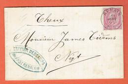Lettre Renaix-Ronce 11-JANV-1889 Sur 46 Vers Theux - Cachet Négociant Trivier Deschamps A Renaix - 1865-1866 Perfil Izquierdo