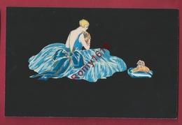 Lyett.  Art Déco.  Aquarelle Sur Fond Noir, Genre Velours. Femme,  Girl Avec Petit Chien.  Série N°4491. - Illustrateurs & Photographes