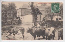 CPA Flixecourt - Moulin A. Lefèbre (très Belle Animation Avec Troupeau De Vaches) - Flixecourt