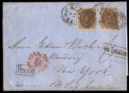 DENMARK. 1874 (11 April). Sc. 19x2. DENMARK-USA-TRANSATLANTIC. Copenhagen To USA (30 April). Franked Envelope 8k X 2, Ti - Non Classés