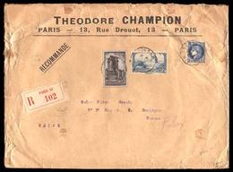 FRANCE. 1938. Paris To Macau. FRANCE-MACAU-HONG KONG. Paris To Macau. Registered Envelope Franked 2f And 10f. Via Hong K - France