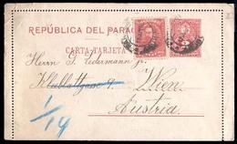 PARAGUAY. 1895. PARAGUAY - AUSTRIA. Altos To Austria/Wien. 2c Red Stationary Card + Adhl, Tied Cd, Blue Arrival + Via Bs - Paraguay
