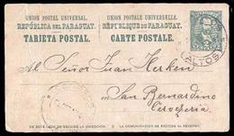 PARAGUAY. 1904 (25 Sept.). Los Palos To San Bernardino. 2c Green Stationary Card. Fine Usage / Small Blue Town Cds. - Paraguay