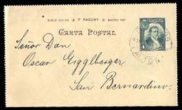 PARAGUAY. C. 1904. Los Palos To San Bernardino. 4c Green Stationary Card. Fine Usage. - Paraguay
