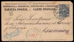 PARAGUAY. 1891 (20 July). San Bernardino To Asuncion. 3c Blue Stationary Card. VF Early Scarce Internal Usage. - Paraguay