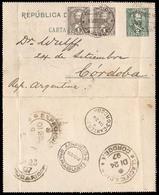 PARAGUAY. 1897(15 Dec). Sc.33º(2). Villa Rica To Cordoba/Argentina. 2c.green Stat.card-env + 2 Adtls, Tied Cds Via Asunc - Paraguay