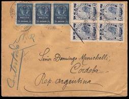 PARAGUAY. 1903(Nov). Sc 97º(4), 56º(3). Asuncion To Argentina (Nov.21). Registered Multifranked Envelope (2 Labels On Re - Paraguay