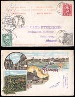 PARAGUAY. 1899(25 Oct). Sc.33º, 34º, 35º. Limpio To Germany (25 Nov). Gruss Aus/Paraguay Colorlitho XIX Ppc Usage, Frank - Paraguay