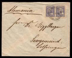PARAGUAY. 1896 (April 25). SC 37º(2). San Bernardino To Germany (23 May). Envelope Franked 10c Lilac (x2) Puncholed, Tie - Paraguay