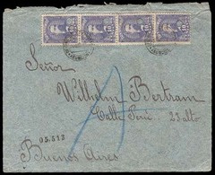 PARAGUAY. 1895(20Aug). Sc.37º(4). Asuncion To Argentina (25 Aug). Registered Envelope Franked 10c.lilac Puncholed Vertic - Paraguay