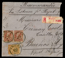 BELGIUM. C1886. Registered Cover Front To Buenos Aires, ARGENTINA Franked By 1886 50c Bistre And Two 1884 1fr Brown On G - Belgium