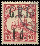 SAMOA 61 : 1d. Sur 10p. Rouge, Obl., Surch. G.R.I., TB - Samoa