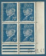 Coin Daté N°510 Pétain 70c Bleu (22.11.41) Neuf** - 1940-1949