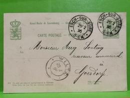 Entier Postaux, Esch/Sûre, Wiltz 1896 - Postwaardestukken
