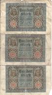 ALLEMAGNE 100 MARK 1920 VG P 69 ( 3 Billets ) - [ 3] 1918-1933 : República De Weimar