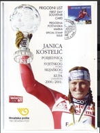 JANICA KOSTELIC-WORLD CUP CHAMPION-FIRST DAY SOUVENIR CARD-CROATIA - 2001 - Französich-Somaliküste (1894-1967)