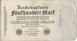 ALLEMAGNE 500 MARK 1922 VF P 74 - [ 3] 1918-1933 : República De Weimar