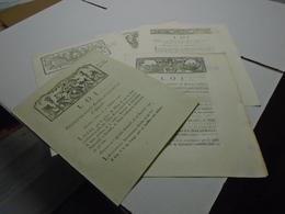 ENSEMBLE DE 5 LOIS RELATIVES AUX ASSIGNATS ET DE 1791 (Voir Détail) : Révolution - Decretos & Leyes
