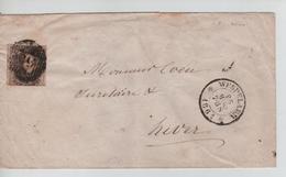 CBPND1/ TP N°10 3 Marges S/LSC Oblitération à Barre 60 Distribution Wespelaer 26/3/1861 > Hever - Postmarks - Lines: Distributions