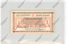 LOTTERIE - Ein Achtellos, 1.Klasse, 20. Preussisch-Süddeutsche Klassenlotterie, 1922, Kl. Knick - Biglietti Della Lotteria