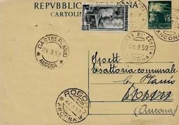 Intero C141 ; Sezza Dei Conti 21-3-1952 Prima Per Rosora, Poi Reindirizzato A Castelplanio ; Fori Di Spillo - 6. 1946-.. Repubblica