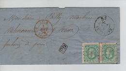 CBPND4/ TP 30(paire) S/LAC Scierie Marbre LOS à PTS 30 + C.Basècles 3/8/71 > Valenciennes M.Entrée Belg.> Valnes + Ambt - 1869-1883 Leopold II.