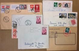 LOT DE 6 ENVELOPPES BELLES OBLITERATIONS PHILATELIQUES 13 TIMBRES AU TOTAL - Briefe U. Dokumente