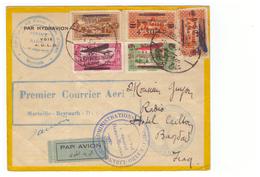 Grand Liban Lettre 1930 Cachet Premier Courrier Aerien Voie AULO Marseille Beyrouth Damas Par Hydravion Beyrouth - Grand Liban (1924-1945)