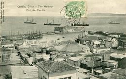 Crete Candia Port De Candie (timbre 5c Type Blanc Cachet La Canée Crète,  Au Dos Corps D'occupation De Créte) - Grèce