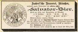 Original-Werbung/ Anzeige 1887 - SALVATOR-BIER - ZACHERL'SCHE BRAUEREI - MÜNCHEN - Ca. 140 X 45 Mm - Werbung