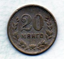 MONGOLIA, 20 Mongo, Copper-Nickel, Year 1945, KM #20 - Mongolei
