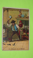 """Chromo Image Récompense D'école Vers 1900 - FABLE DE LA FONTAINE -Le Villageois Et Le Serpent -Alcide PICARD """"état"""" / 29 - Unclassified"""