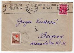 1950 YUGOSLAVIA, CROATIA, ZAGREB TO BELGRADE, POSTAGE DUE, RED CROSS 0.50 DIN IN BELGRADE - Covers & Documents