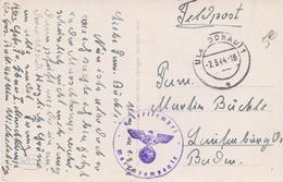 Guerre 40 CAD ULM DONAU 2 3 44 Cachet Wehrmacht Corbeau Briefstempel Marsch Kompanie Feldpost - Briefe U. Dokumente