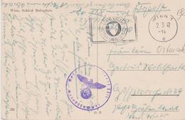 Guerre 40 Feldpost Flamme Propagande Autriche CAD Wien 2 3 42 Cachet Wehrmacht ? Reserve Lazarett XXIV Hôpital Réserve - Briefe U. Dokumente