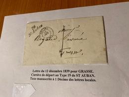 LETTRE Du 12/12/1839 Pour  GRASSE  ( Descriptif General Voire Scan LETTRE ) Port Offert - Marcofilie (Brieven)