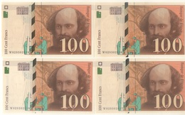 4 BILLETS  100 FRANCS CEZANNE NUMEROS CONSECUTIFS 1997 ETAT SUP//SPL NEUF SERIE W - 1992-2000 Ultima Gama