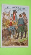"""Chromo Image Récompense D'école Vers 1900- FABLE DE LA FONTAINE Vieillard & Les 3 Jnes Hommes- Chaussures Sens """"état""""/44 - Unclassified"""