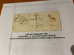 LETTRE DU  2/9/1840  ( Descriptif General Voire Scan Lettre ) -port Offert - Marcofilie (Brieven)