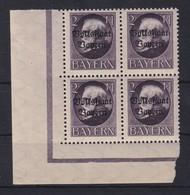 Bayern Ludwig III Volksstaat Bayern 2M Mi.-Nr.129 II A Eckrandviererblock UL ** - Bayern