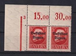 Bayern Ludwig III Volksstaat Bayern 3M Mi.-Nr.130 II A Eckrandpaar OL ** - Bayern