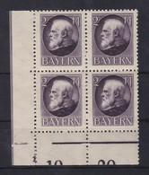 Bayern Ludwig III. 2M Mi.-Nr. 105 II A Eckrandviererblock UL ** - Bayern