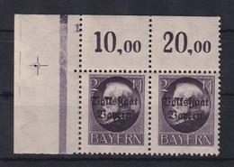 Bayern Ludwig III Volksstaat Bayern 2M Mi.-Nr.129 II A Eckrandpaar Oben Links ** - Bayern