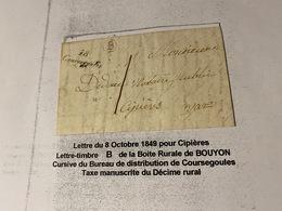 LETTRE Du 8/10/1849 Pour CIPIERES  ( Descriptif General Voire Scan Lettre )  Port Offert - Marcofilie (Brieven)