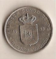 CONGO BELGE / RUANDA URUNDI; 1 FRANC 1959 SUPERBE ! KM 4 Ref 4058 - 1951-1960: Baudouin I