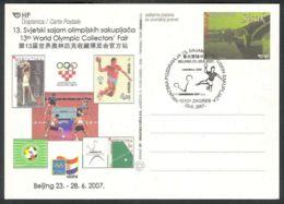 Croatia, 2007, China World Olympic Collector`s Fair, Stationery Comm. Postmark - Croazia